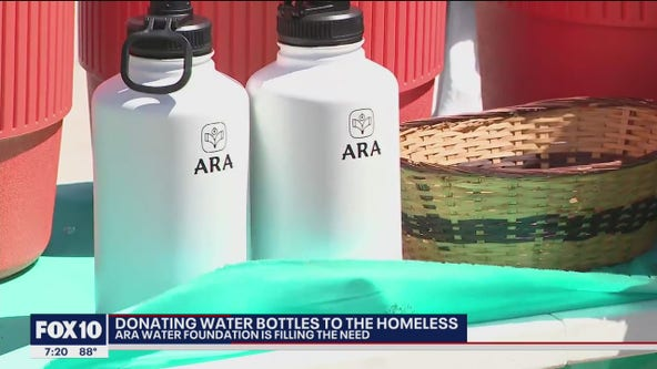 Valley foundation donates water bottles to homeless population