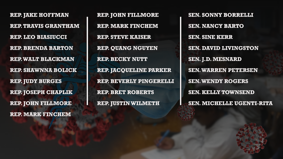 List of Arizona Republican lawmakers who call on Gov. Doug Ducey to reprimand school districts who they say are in violation of state law with mask and COVID-19 protocols.