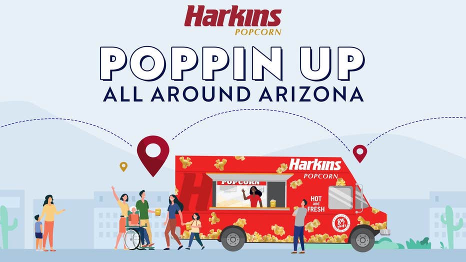 A graphic promoting the Harkins Popcorn Truck.