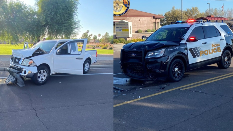 A suspected impaired driver crashed head-on into a Peoria police officer's SUV.