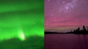 Pink and green: Auroras light up night sky in Tasmania, Alaska