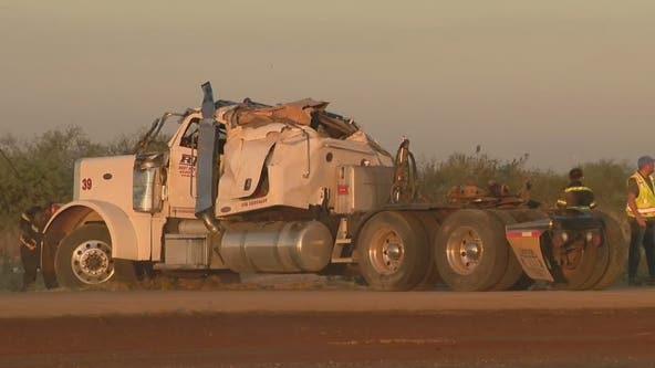 Semi-truck crash closes eastbound U.S. 60 near Surprise