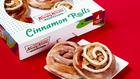 Krispy Kreme adds cinnamon rolls to its menu for 1st time