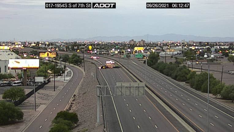 The southbound lanes of I-17 are closed near 7th Street.