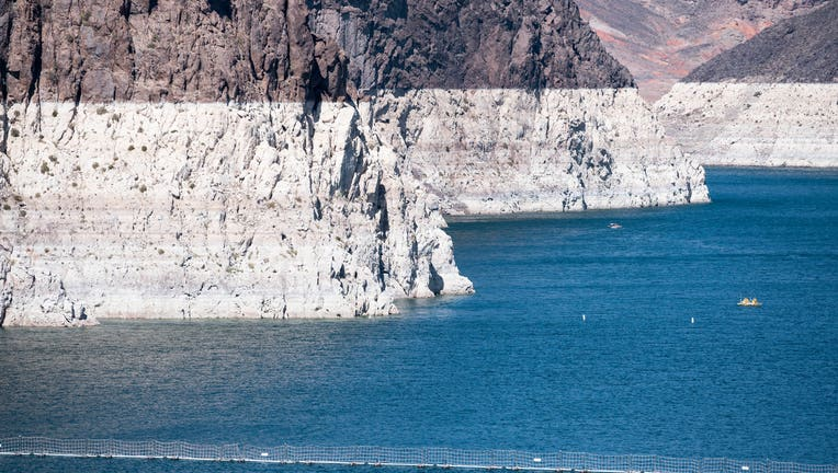 The bath tub rings around Lake Mead show how far the water level has dropped.