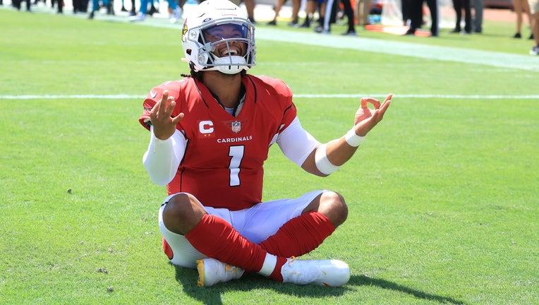 Kyler Murray #1 of the Arizona Cardinals celebrates a touchdown
