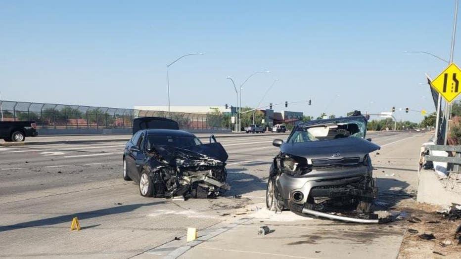 Scene of a crash in Mesa