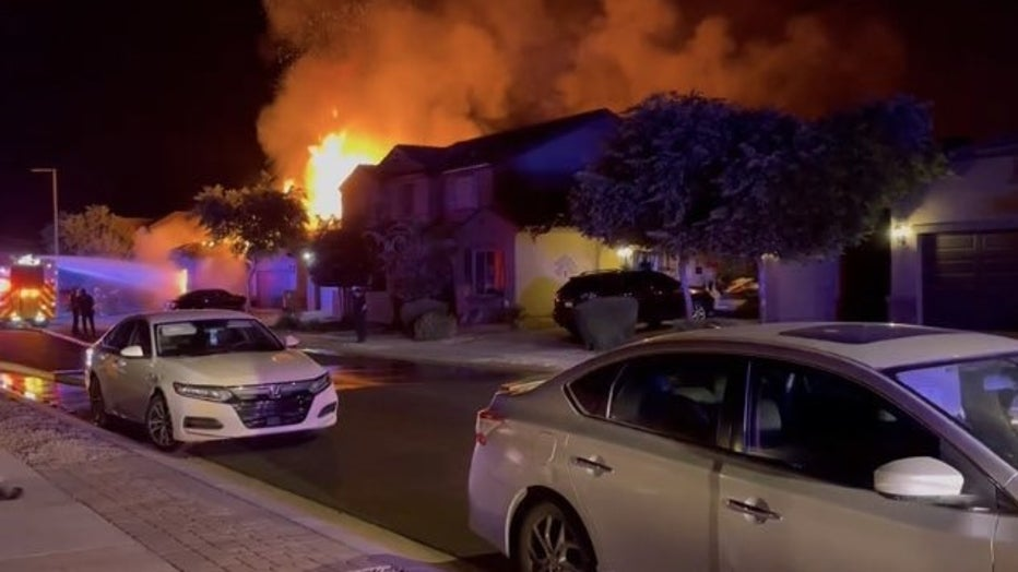 Goodyear house fire and explosion on the night of Sept. 12. Photo by Mauricio Rocha