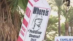 Arizona Senator Kyrsten Sinema faces protesters at Phoenix resort fundraiser