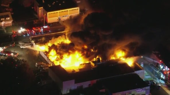 4-alarm fire torches car dealership overnight in Pennsauken