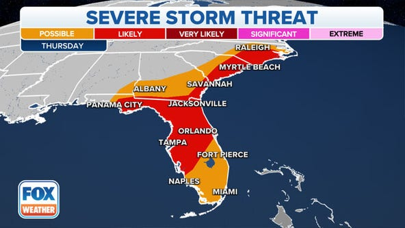 Severe storm threat shifts to Southeast, stretching from Florida to Carolinas