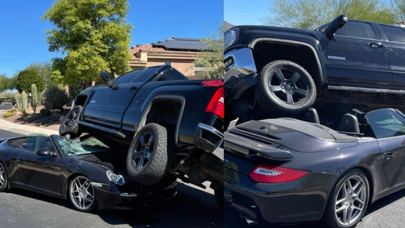 Truck lands on top of convertible after Phoenix-area crash