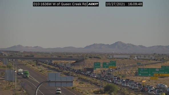 I-10 reopens at Queen Creek Road after 3-vehicle crash