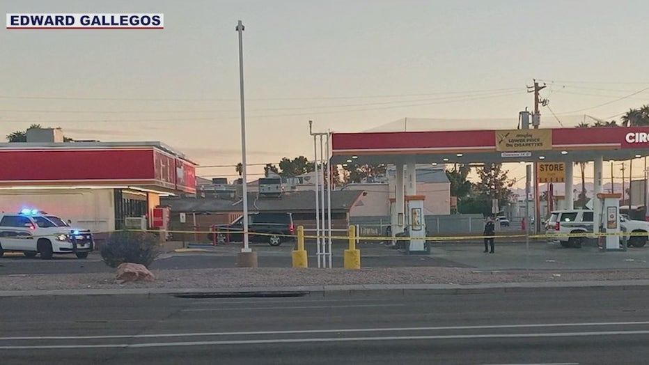 The scene of a shooting at a Circle K.