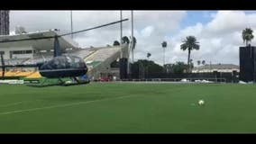 Rowdies use chopper to dry soccer field