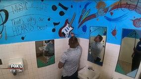 Art transforms elementary school restrooms