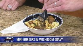 Recipe: Dr. BBQ's mini-burgers in mushroom gravy