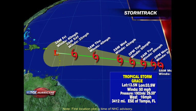 Tropical Storm Grace - Monday AM