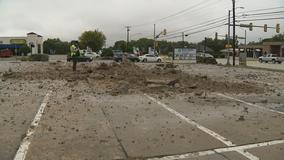 Lightning strike leaves 15-foot hole in Fort Worth parking lot