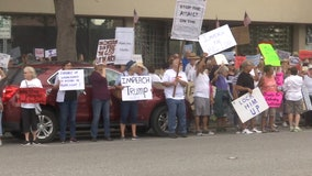 Presidential support rally draws counter protest in St. Pete