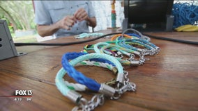 Abandoned fishing nets transformed into jewelry with a purpose