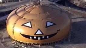 Massive tank transformed into pumpkin for Halloween