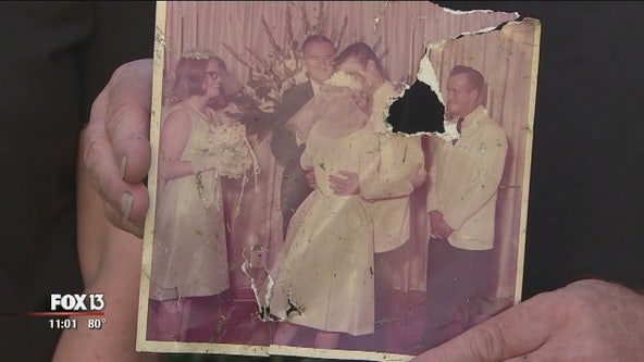 Carried miles by tornado, decades-old wedding photo returned to family