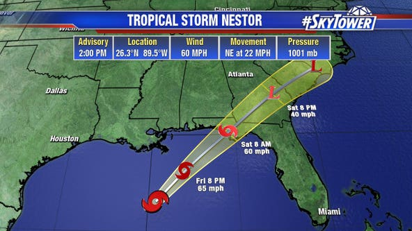 Wet forecast: Surge warning for coast as Tropical Storm Nestor forms