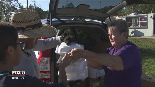 Harvest Meat Market owners hand out hundreds of hot meals to residents affected by tornado