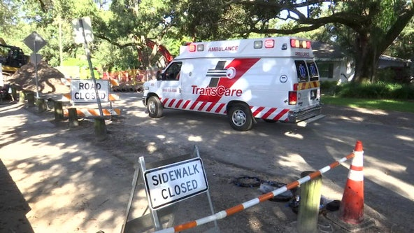 Worker hospitalized after falling into trench