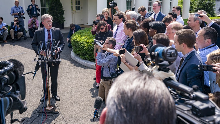 White House National Security Adviser Ambassador John Bolton speaks to reporters on events occurring in Venezuela Tuesday, April 30, 2019, outside the West Wing entrance of the White House. (Official White House Photo by Tia Dufour)
