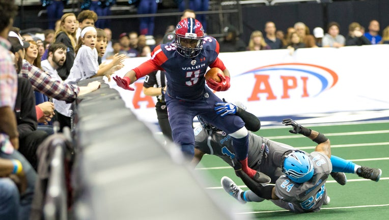 WASHINGTON, DC - APRIL 22: Philadelphia Soul wide receiver Ryan McDaniel (19) pushes Washington Valor wide receiver Julius Gregory (3) into the boards during an Arena Football League game between the Washington Valor and the Philadelphia Soul on April 22, 2017, at the Verizon Center, in Washington DC. Philadelphia Soul defeated the Washington Valor 49-31. (Photo by Tony Quinn/Icon Sportswire via Getty Images)