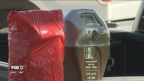 Vandal damages more parking meters with foam sealant in downtown St. Pete