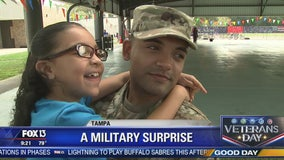 All smiles after Army dad's surprise