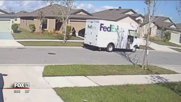 Watch: FedEx driver tosses packages onto front doorsteps