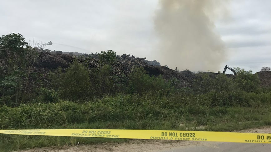 Crews battle fire at Lakeland wood recycling facility