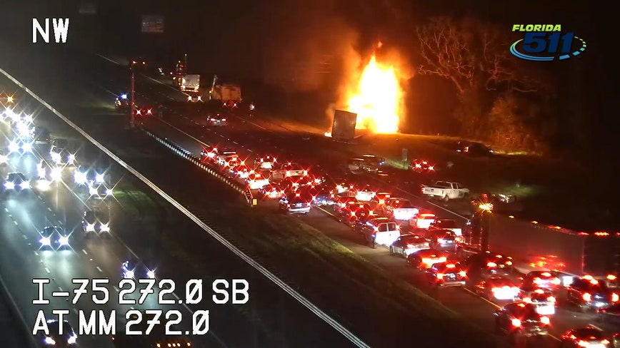 Fiery crash stops traffic on I-75 near Bruce B. Downs