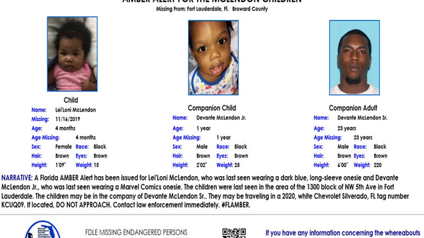 Amber Alert issued for infant, toddler from Fort Lauderdale