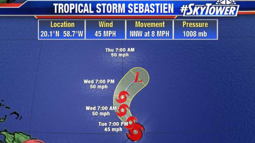 Tropical Storm Sebastien forms in Atlantic; no threat to U.S.