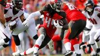 Jones' INT return in OT lifts Falcons over Buccaneers 28-22