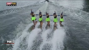 Cypress Gardens Water Ski Team glides across Lake Silver
