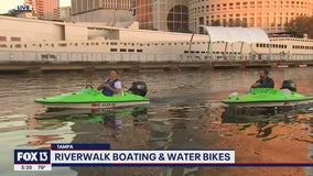 Mini-boats and water bikes offer a different perspective of Tampa's Riverwalk