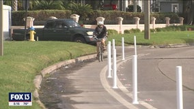 Bike lane delineators installed on Bayshore Boulevard in Tampa