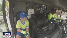 7-year-old 'garbage and recycling enthusiast' taken on dream garbage truck ride along