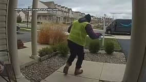 Amazon delivery driver's hilarious reaction to basket of treats outside Delaware home caught on video