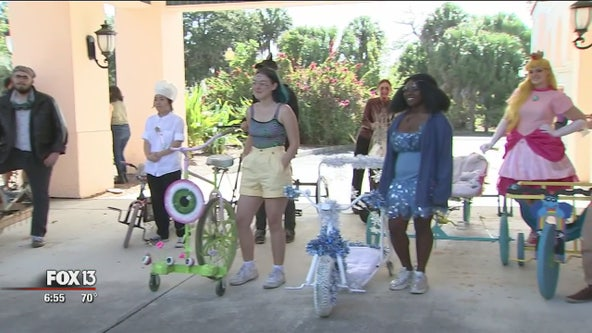 Students put artistic and mechanical skills to the test to race handmade vehicles at New College of Florida