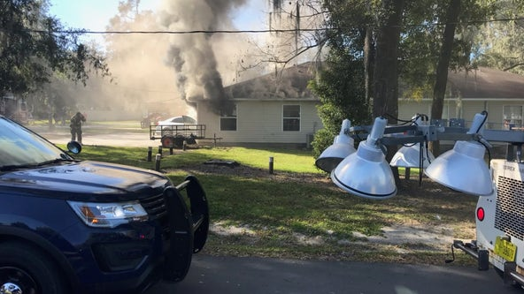 Dade City building catches fire after car crashes into it
