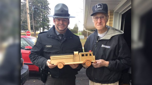 93-year-old toymaker makes hundreds of wooden trucks by hand to donate to children for Christmas