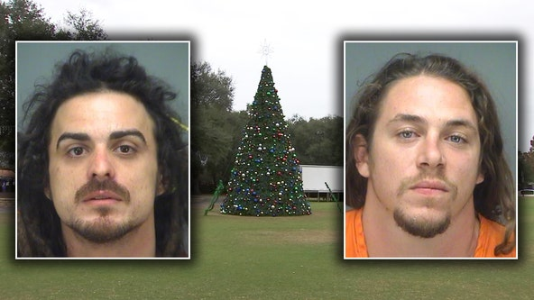 Largo police arrest 2 men for climbing 35 ft. Christmas tree, breaking ornaments