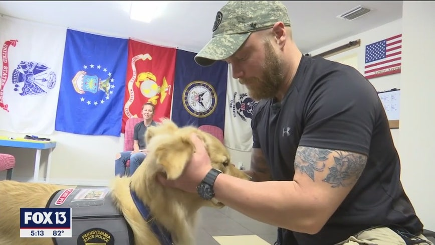 Injured trooper receives 'new family member': A service dog